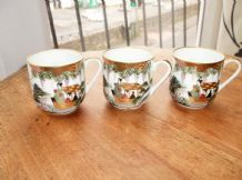 3 X FINE TRANSLUCENT ORIENTAL SOHO CHINA HANDPAINTED CUPS GEISHA BOAT GILDED